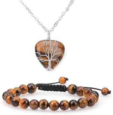 Tigers eye wrap pendant necklace