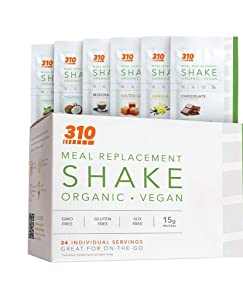 24 CT Organic Shake Box - Vegan Plant Protein Powder and Meal Replacement Shake - By 310 Nutrition - Gluten, Dairy and Soy Free - 0g of Sugar | Keto and Paleo Friendly (Variety (6 Flavors))
