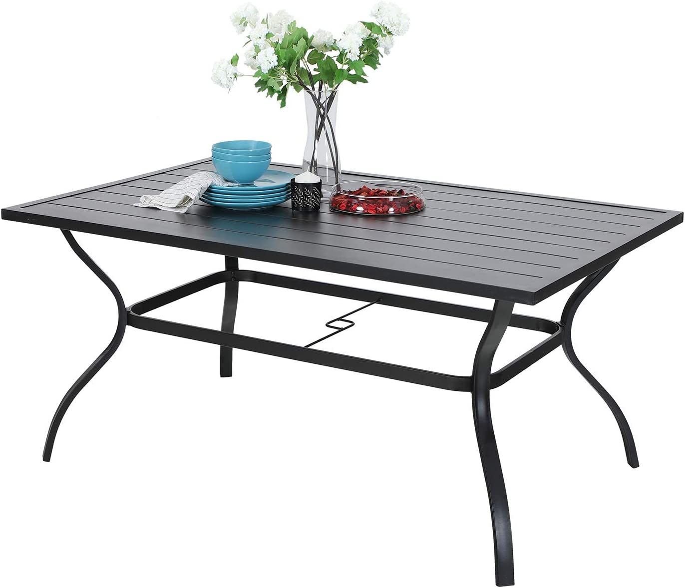 MF Outdoor Metal Dining Table Garden 6 Person Umbrella Table for Lawn Patio Pool Sturdy Steel Frame Weather-Resistant Coffee Bistro Table Black 1 Table