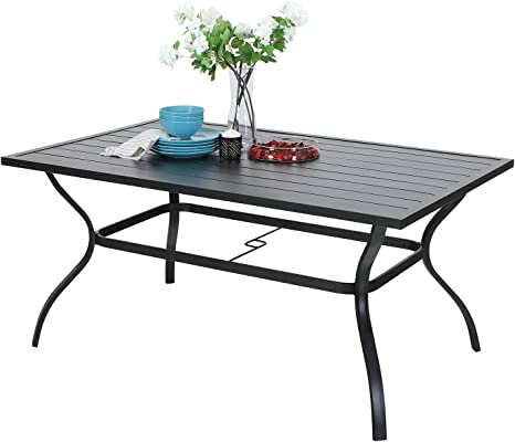 Amazon Com Outdoor Metal Dining Table Garden 6 Person Umbrella Table For Lawn Patio Pool Sturdy Steel Frame Weather Resistant Coffee Bistro Table Black 1 Table Kitchen Dining