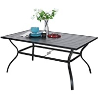 Outdoor Metal Dining Table Garden 6 Person Umbrella Table for Lawn Patio Pool Sturdy Steel Frame Weather-Resistant Coffee Bistro Table Black (1 Table)