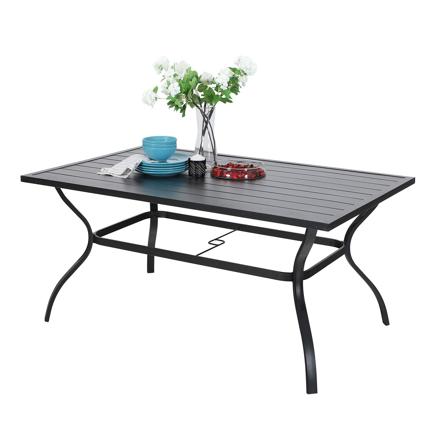 MF Outdoor Metal Dining Table Garden 6 Person Umbrella Table for Lawn Patio Pool Sturdy Steel Frame Weather-Resistant Coffee Bistro Table Black (1 Table)