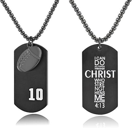 Unisex Punk Unisex Men/'s Charm Stainless Steel Bible Cross Ring Pendant Necklace