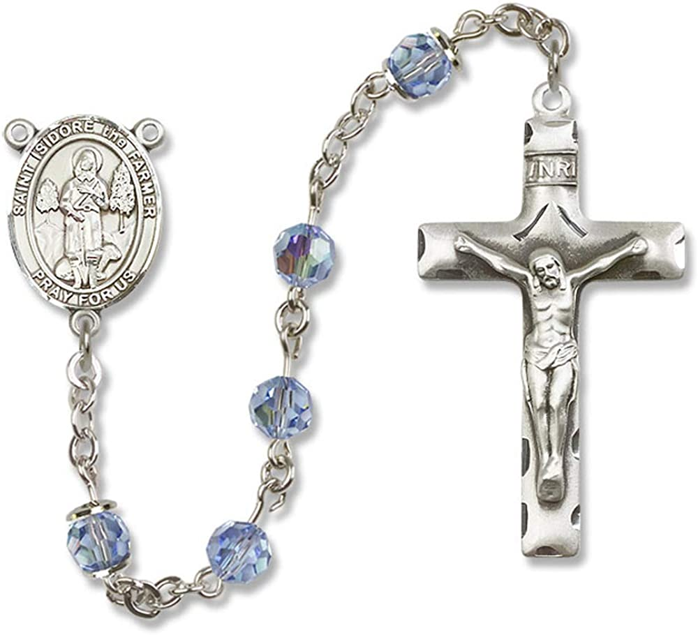 Isidore the Farmer Center is the Patron Saint of Agricultural Workers St 6mm Swarovski Austrian Tin Cut Aurora Borealis Beads All Sterling Silver Rosary with Light Sapphire