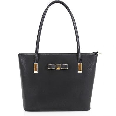 7e176aff0ec Womens Designer Bow Office Small Tote Bag Ladies Shoulder Handbag Work New  UK Black: Amazon.co.uk: Shoes & Bags