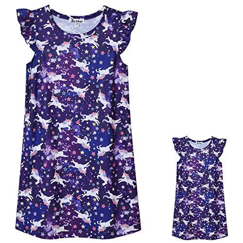 Matching Girls & Dolls Nightgowns Flutter Sleeve Unicorn Sleepwear Pjs Dress