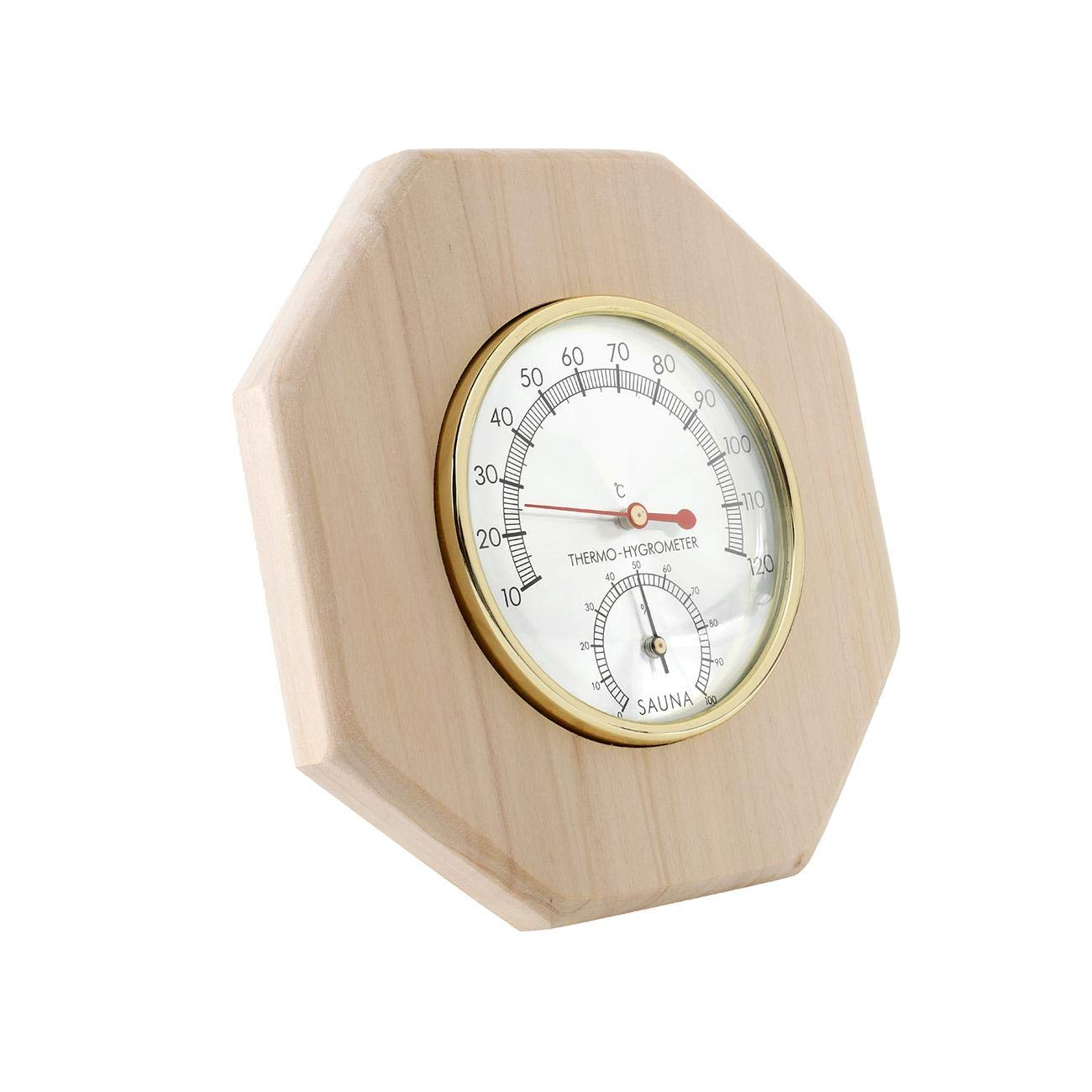 Dyna-Living Wooden Sauna Hygrothermograph 2 in 1 Thermometer Hygrometer Double Dial Sauna Room Accessory