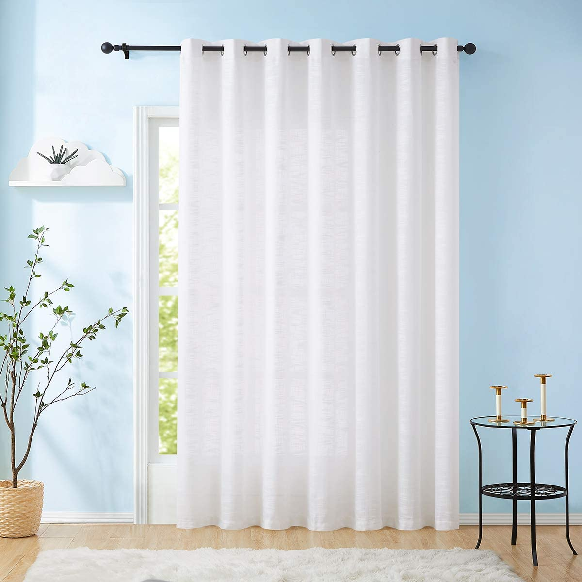 Linen Sheer White Curtains Sliding Door Curtain 108-inches Long Patio Glass Door Curtain Panel 100 Width Rich Cross Weave Textured Semi-Sheers Living Room Divider Bedroom Window Draperies 1pc