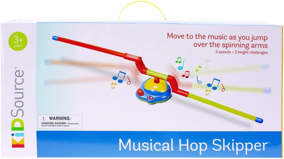 KidSource Musical Hop Skipper - Spinning Musical Toy for Active Indoor or Outdoor Jumping Play - 3 Speeds and Height Challenges for Ages 3 Years Old and Up