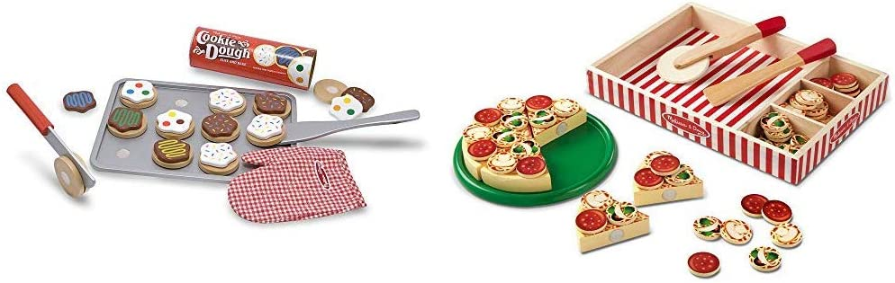 """Melissa & Doug Slice-and-Bake Wooden Cookie Play Food Set, 28 Pieces, 10.5"""" H x 13.5"""" W x 3.25"""" L & Pizza Party Wooden Play Food (Great Gift for Girls and Boys - Best for 3, 4, and 5 Year Olds)"""
