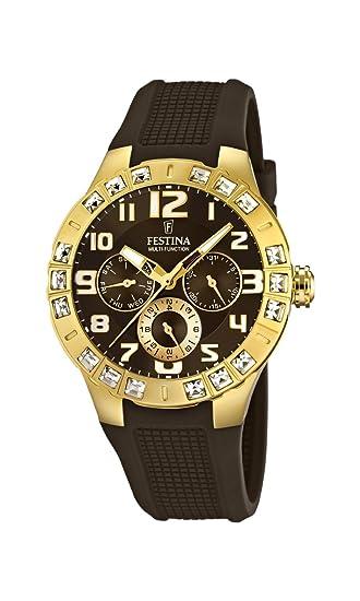Festina F16581/3 - Reloj analógico de cuarzo para mujer, correa de goma color marrón: Amazon.es: Relojes