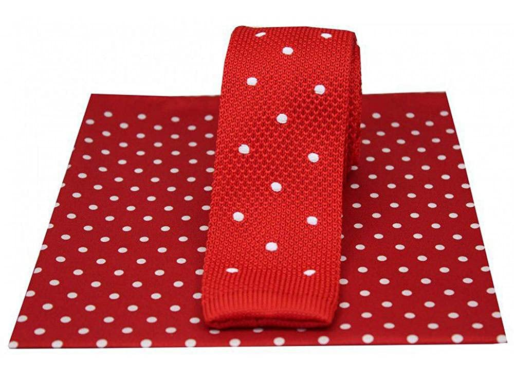 Red//White David Van Hagen Spotted Knitted Tie and Spot Handkerchief