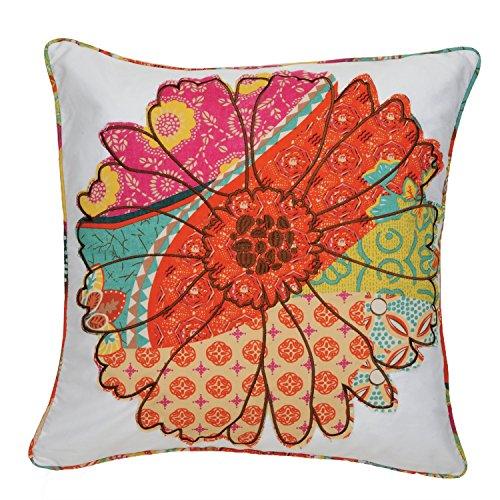 Levtex home Zanzibar Flower Pillow, 20×20, White, Orange