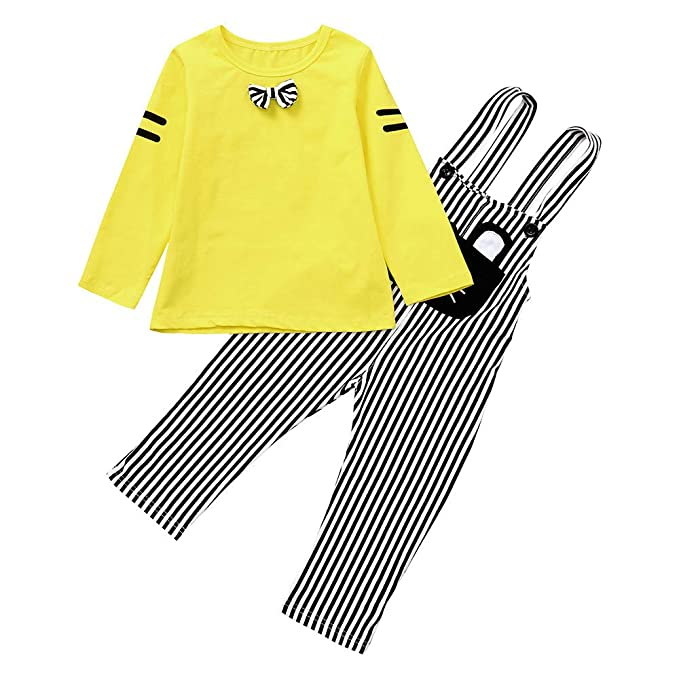 Conjuntos para Bebe Niños Niñas Manga Largas Otoño 2018 Moda PAOLIAN Ropa  de Camisetas y Tirantes 55f812e5f76d