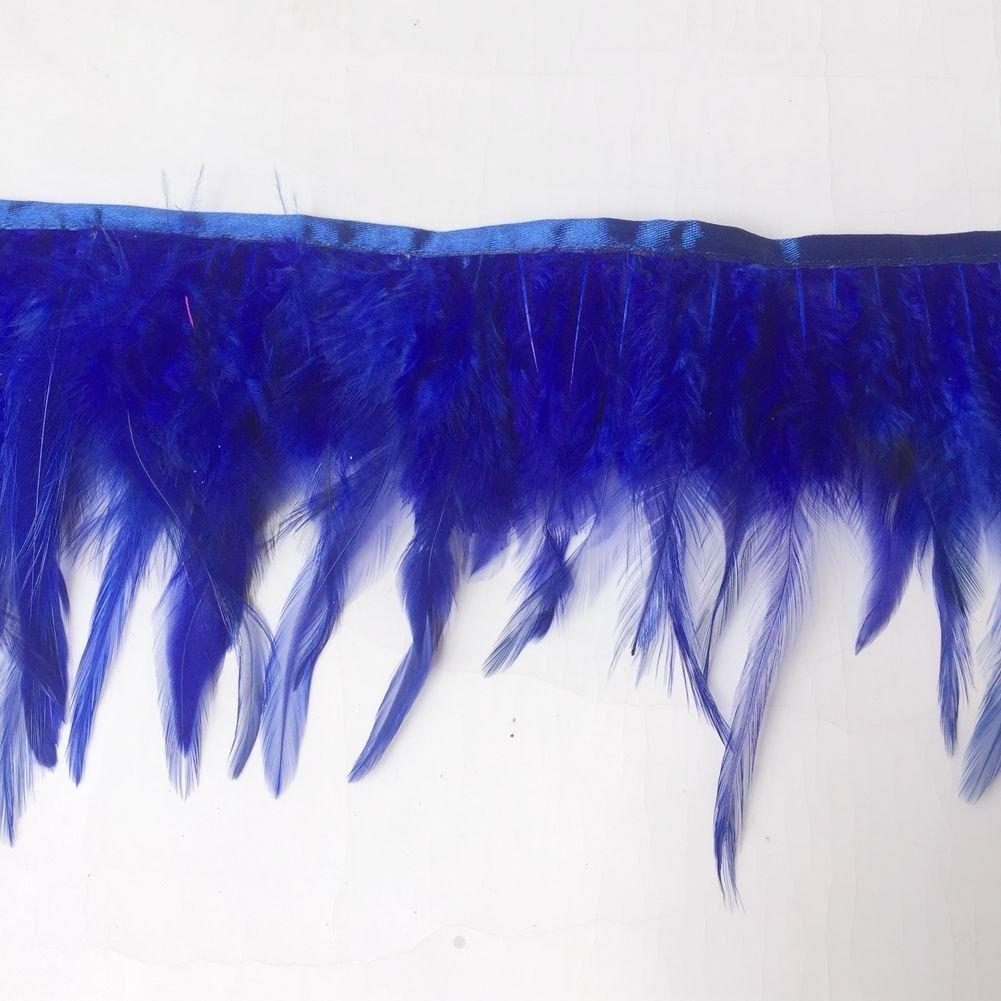 Black KOLIGHT Pack of 10 Yards Natural Rooster Hackle Feather Trim Fringe 4-6 in Width DIY Decoration