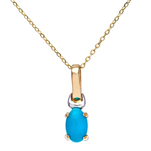 Citerna 9 ct Yellow and White Gold Turquoise Birth Stone Pendant + 18 inch Yellow Gold Trace Chain