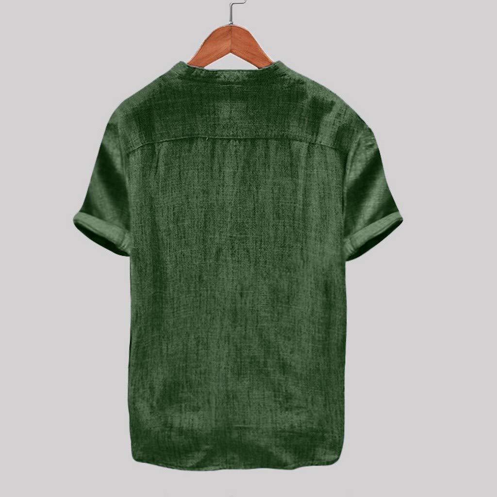 2019 Mens Summer Casual Linen Henley Shirts Short Sleeve Solid Shirt MIUCAT Linen Shirts for Men