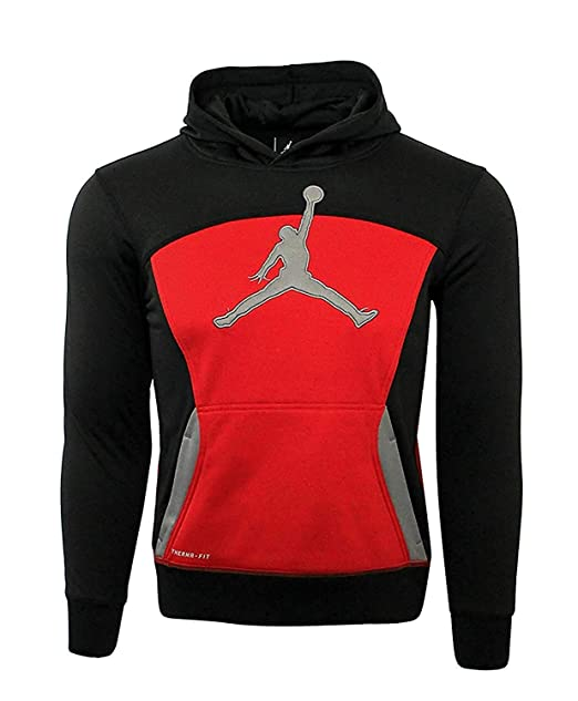 35e3688af42d02 Image Unavailable. Image not available for. Color  Jordan Little Boys  Air  Jumpman Therma-Fit Hoodie (Black Gym Red