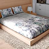 SPACES Courtyard Blue 210 TC Cotton King XL Bed sheet With 2 Pillow Covers