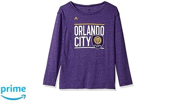 Medium Regal Purple MLS Orlando City FC Adult Women Team bar Stack L//s Crew Tee