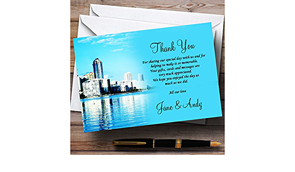 Miami Florida Personalized Wedding Thank You Cards