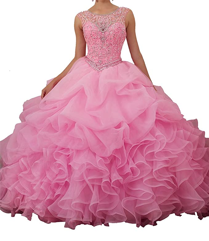 Yang 2017 Women Beads vestido de Ball Gowns Wedding Girls Quinceanera Dresses at Amazon Womens Clothing store: