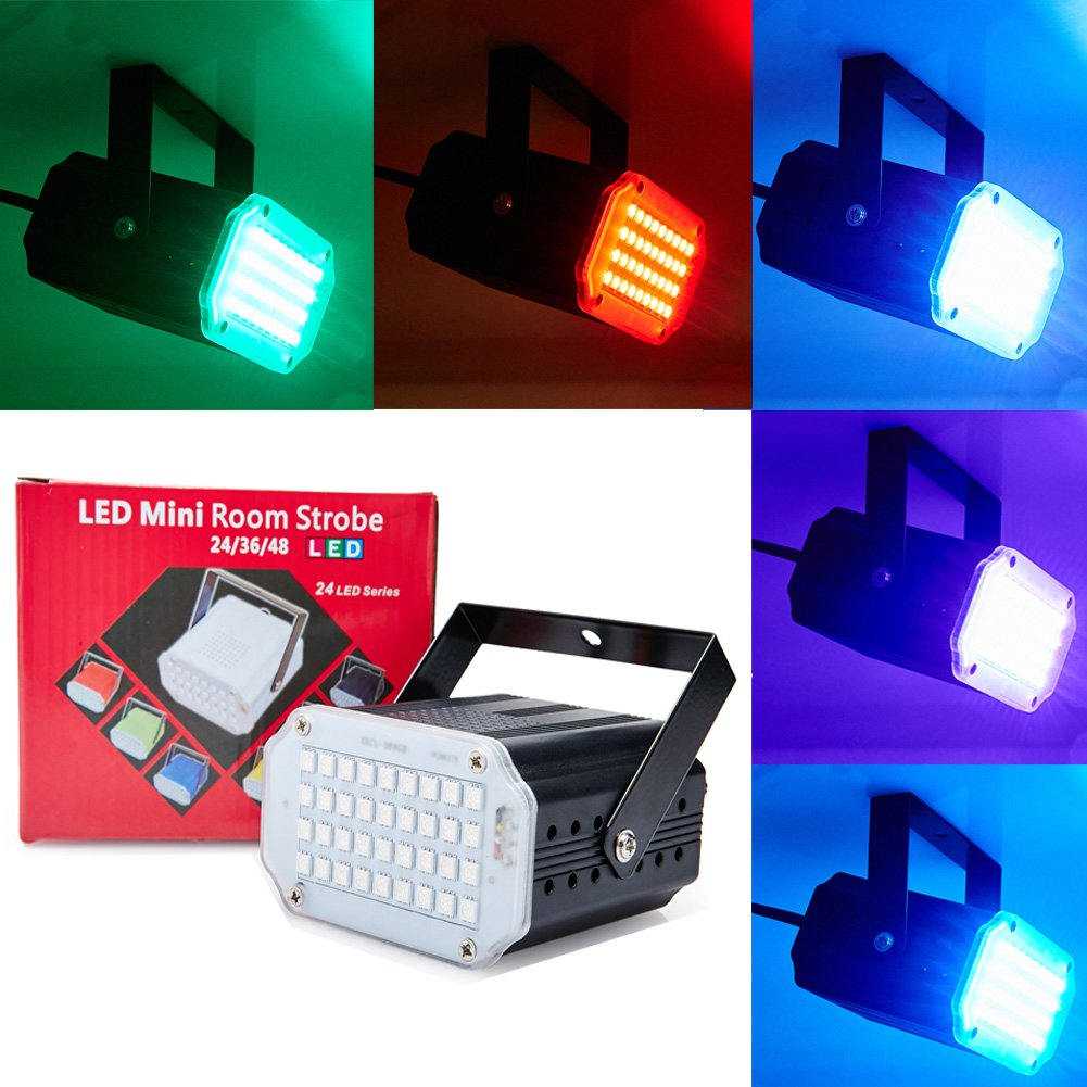 Mini Flash Strobe Lights 24/36/48LEDs Super Bright LED Stage Lighting with Sound Activated and Speed Control For Holiday Party Halloween Christmas Birthday Celebration Ballroom (48LEDs RGB, Black) ShangPin