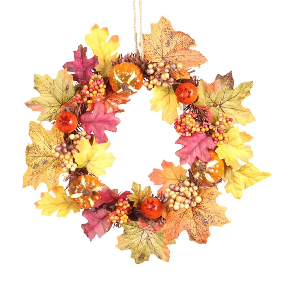 Artificial Decorative Flowers Christmas Home Shopping Mall Window Decoration Pendant Door Wreath Innovative Pumpkin Pine Cone Maple Leaf Wreath Halloween Thanksgiving Supplies