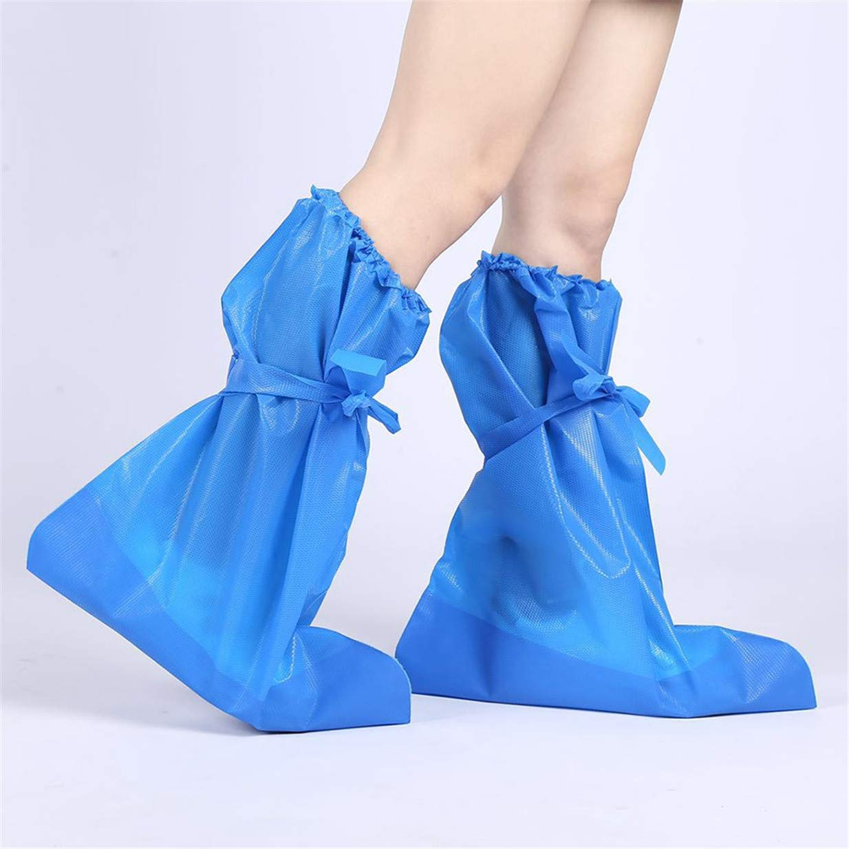 EJY 1pair Overshoes Disposable Boot Shoe Covers Plastic Waterproof Shoe Covers Long Rain Protective Shoes Cover Floor Carpet Protectors for Adults Blue