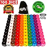 Vivorr Premium Dice Set of 100 Pieces, 10 Colors, 10 of Each Color, 16mm, D6, c/w Velvet Carry Bag / Pouch, Perfect for: Tenzi, Farkle, Yahtzee, Bunco, Board Games, Casino or Teaching Math. Ideal Gift