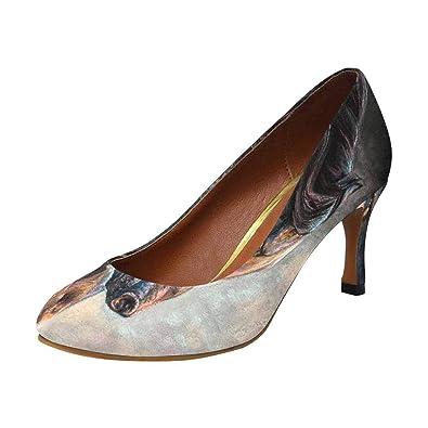 30053acb808e INTERESTPRINT Women s Classic Fashion High Heels Dress Pump Shoes Vintage  Black Horse Animal 5 B(