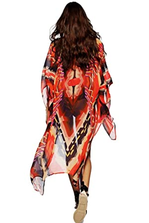 AGOGO 2017 bohemio Moda Mujer para presionar kimono Cárdigan blusa Tops vestido de playa bikini Cubrir