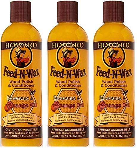 Howard FW0016 Feed-N-Wax Wood Polish and Conditioner, 16-Ounce (3-Pack) by Howard Products