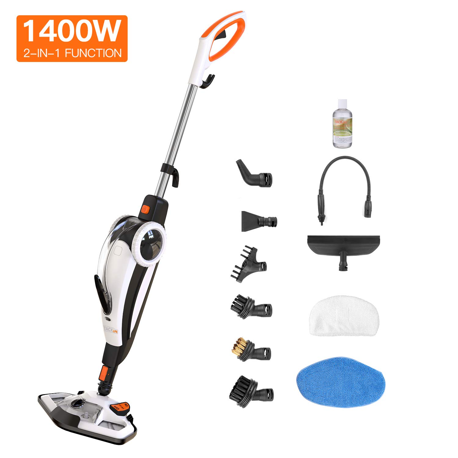 TACKLIFE HSM01A Steam Mop, 2 in 1 Floor Cleaner and Hand-held Steam Cleaner, Suit for Hardwood, Tile, Grout, Laminate, White+Black+Orange by TACKLIFE