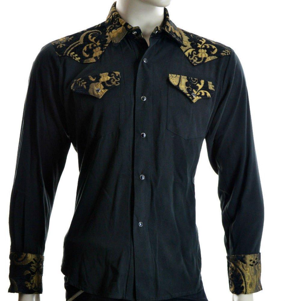 Shrine Rocker Steampunk Cowboy Rodeo Western Wild West Black Gold Tapestry Shirt (2XL) by Shrine