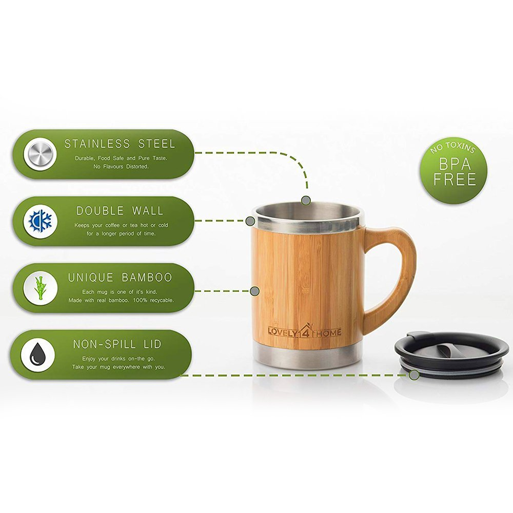 Bamboo Insulated Coffee Mug with Lid - Great Travel Design - Larger 13.5 Ounce Size - Wooden Handle and Barrel - Stainless Steel - Double Wall Insulation - Ideal for Coffee, Tea, Cold Drinks by Lovely 4 Home (Image #2)