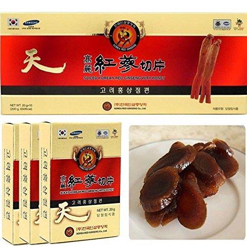 200g (10ea X 20g), Korean Red Ginseng Root Honeyed Slices, Saponin, Panax - Panax Ginseng Root
