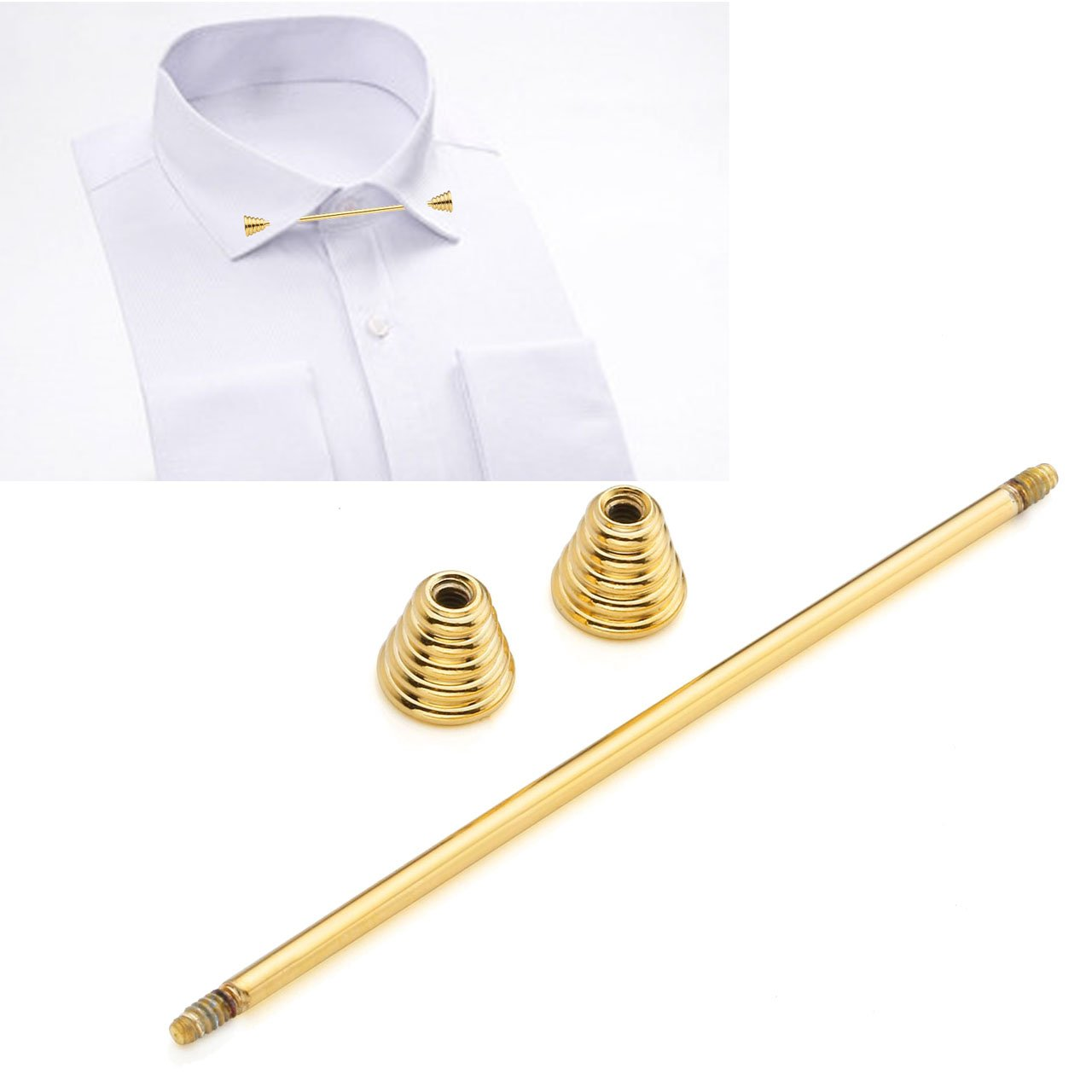 PiercingJ 2-4 pcs Mens Silvery Golden Plated Tone Stainless Steel Shirt Collar Tie Pin Stud Barbell Bar Clip Clasp Brooch by PiercingJ (Image #5)