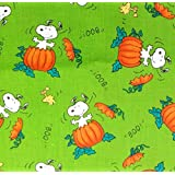 "1/2 Yard - Snoopy & Woodstock ""The Great Pumpkin"" on Green Peanuts Halloween Fabric (Great for Quilting, Sewing, Craft Projects, Throw Pillows & More) 1/2 Yard X 44"" Wide"