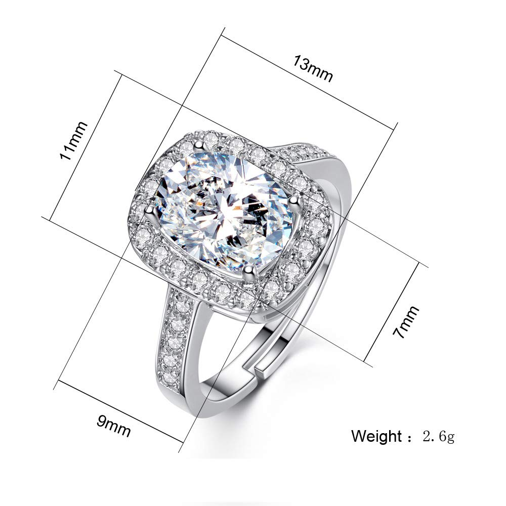 4a57c0f35f8e Amazon.com  Mock ST Swarovski Crystal Rings for Women Girl Cubic Zirconia  Diamond Exquisite Platinum Plated Adjustable Size with Jewelry Gift Box   Sports   ...