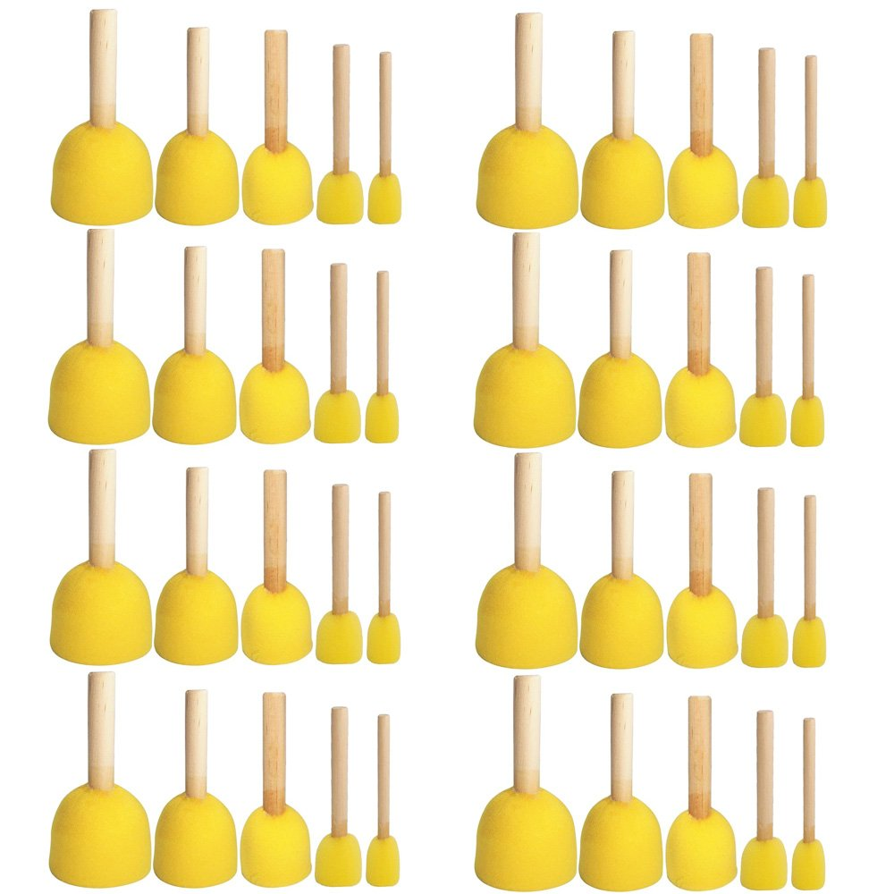 WFPLUS 40pcs 5 Sizes Round Paint Foam Sponge Brush Set Kids Painting Tools Sponge Stippler Set for Painting Crafts and DIY 4336955189