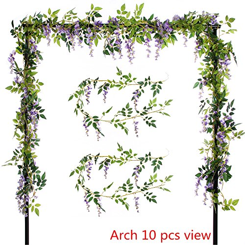 Felice Arts 2 Pcs Artificial Flowers 6.6ft Silk Wisteria Ivy Vine Green Leaf Hanging Vine Garland for Wedding Party Home Garden Wall Decoration, Purple