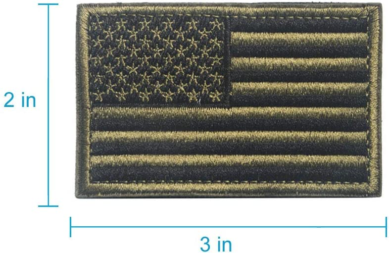 Tactical Military Flag Patches Gold Border-2Piece American Military Flag Emblem Patch. American Flag Patch