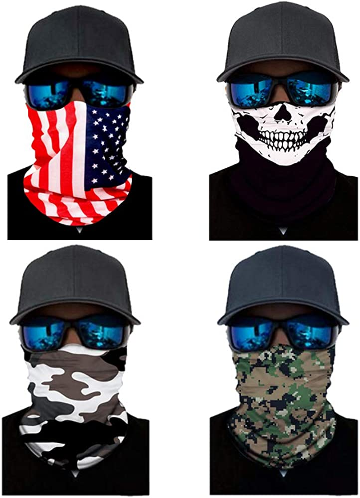 4 Pack Multifunctional Seamless Face Mask Neck Gaiter Bandanas Scarf Balaclava Headband Headwear Headwrap