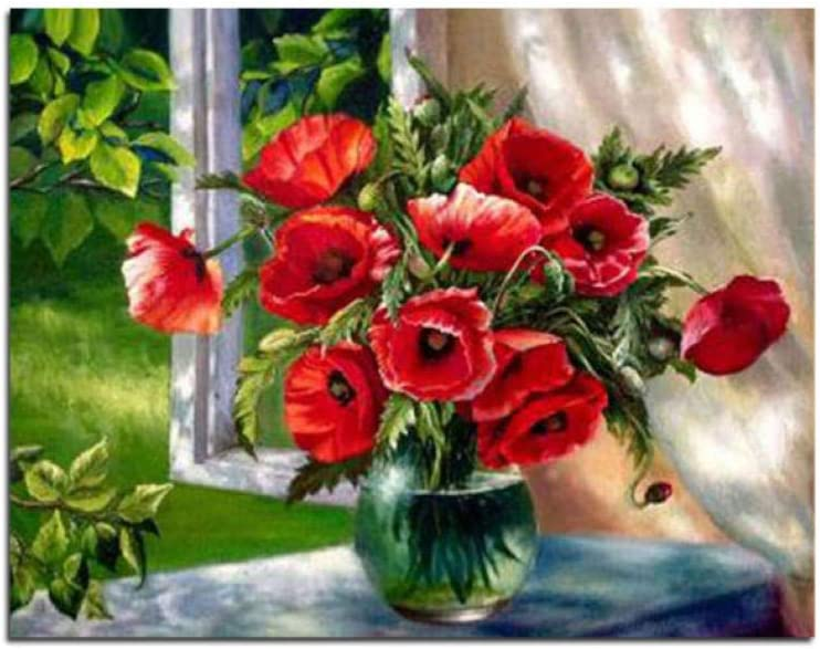 Empty Hermosas Flores Rojas en florero Cuadro Bricolaje Pintura al óleo por números en Lienzo para Colorear para Adultos niños decoración del hogar-40X50_cm_no_Framed