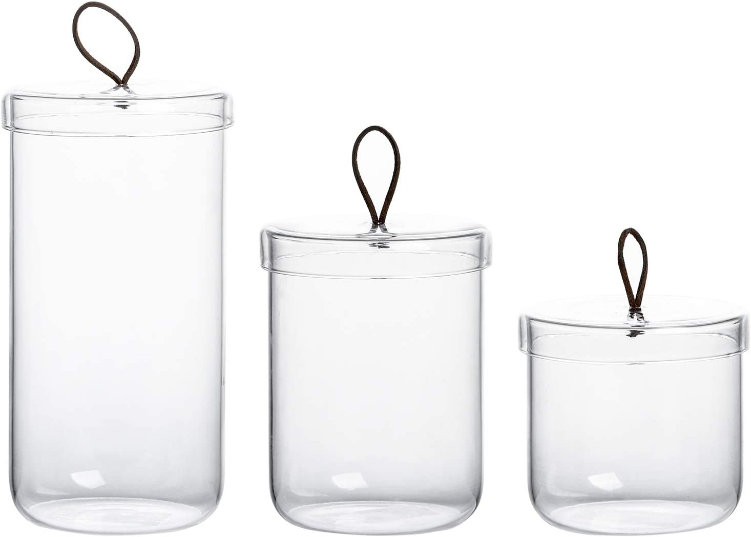 Amazon Com Glass Apothecary Jars Cotton Jar Bathroom Storage Canisters Set Of 3 Kitchen Dining