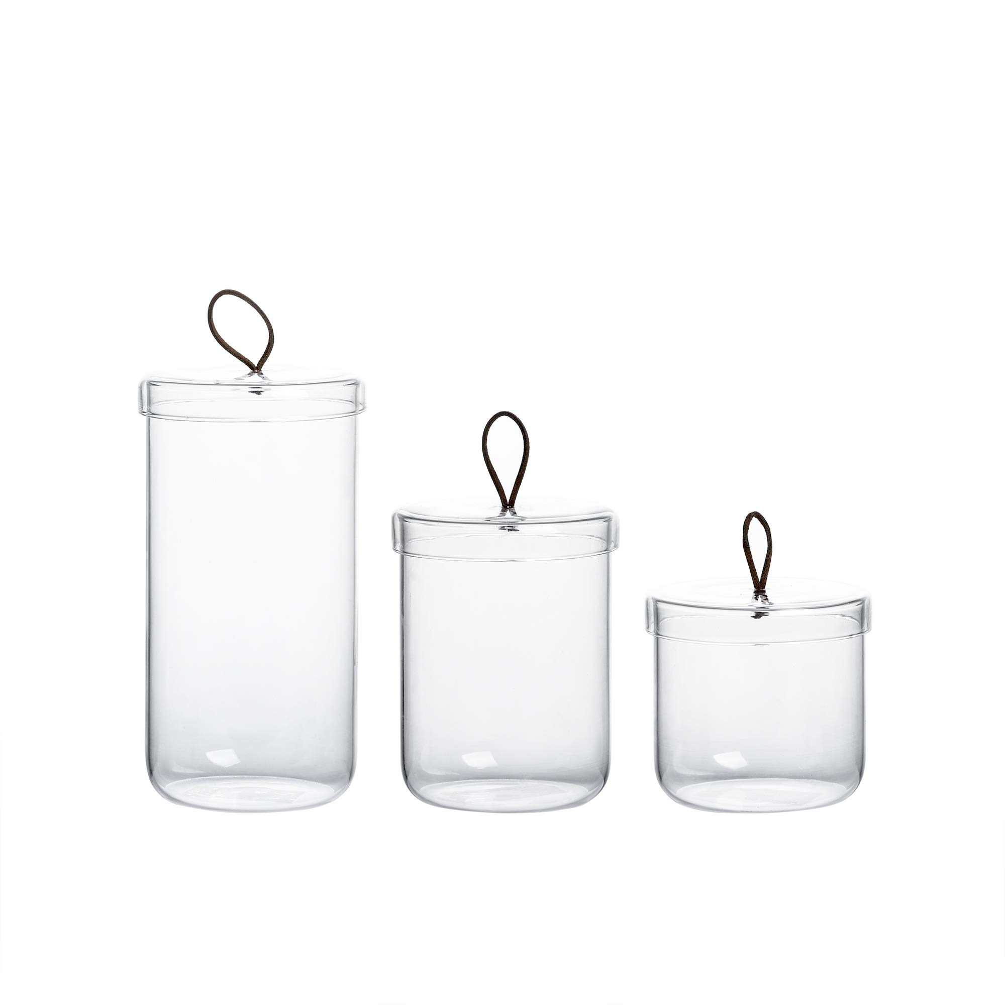 Glass Apothecary Jars-Cotton Jar-Bathroom Storage Canisters/Set of 3