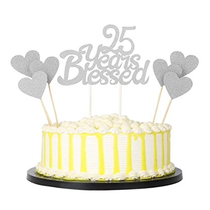 PALASASA 6pc Silver Love Star And Single Sided Glitter 25 Years Blessed Cake Topper For