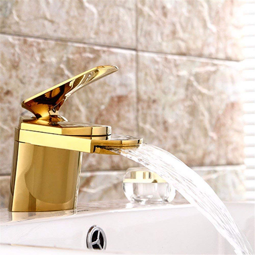 Eeayyygch Retro schwarzer Alter heißer und kalter Wasserhahn-Wasserfall-Badezimmerhahn des kreativen kupfernen Hahns (Farbe   -, Größe   -)