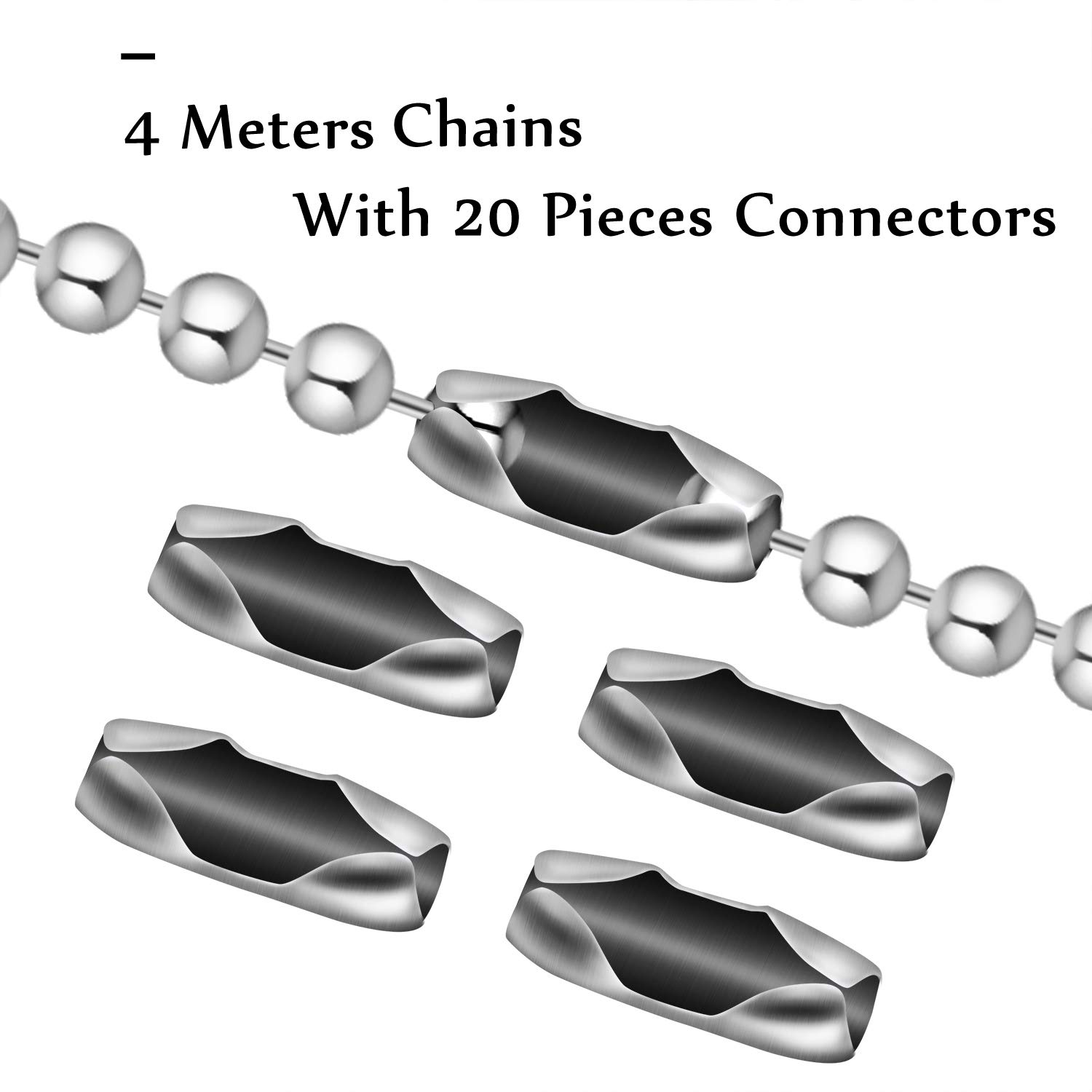 BronaGrand 1pcs 4.5mm Beaded Pull Chain Extension with Connector,4m Beaded Roller Chain with 20 Matching Connectors,Silver